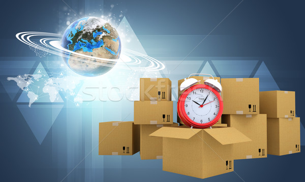 Postal boxes on them alarm clock. Backdrop of earth, triangle Stock photo © cherezoff