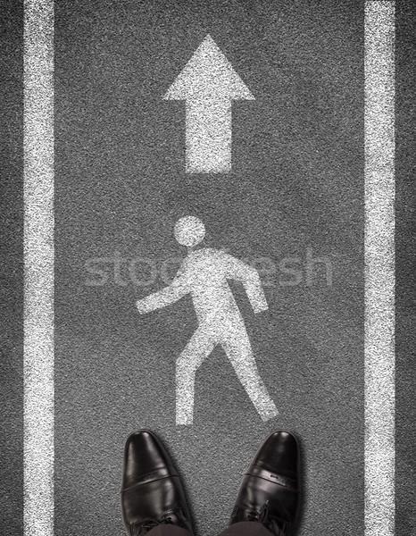 靴 立って アスファルト 道路 2 行 ストックフォト © cherezoff