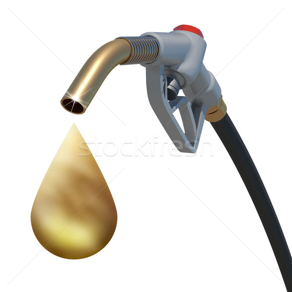 Golden drop weeping from the fuel nozzle Stock photo © cherezoff