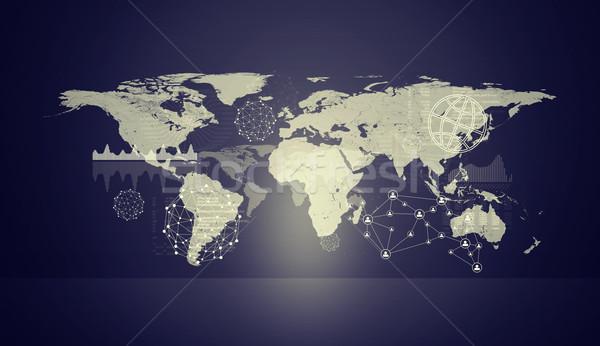Ibolya holografikus képernyő modell világtérkép virtuális Stock fotó © cherezoff