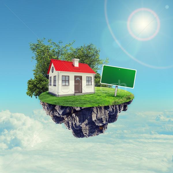 Casa blanca rojo techo signo isla cielo Foto stock © cherezoff