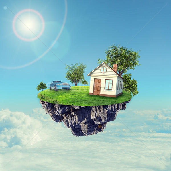 白い家 ブラウン 屋根 車 島 空 ストックフォト © cherezoff