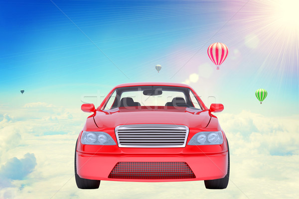 Red car on clouds Stock photo © cherezoff