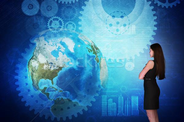üzletasszony holografikus képernyő Föld földgömb elemek Stock fotó © cherezoff
