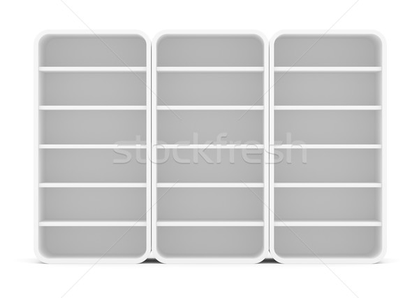 Three empty rounded retail shelves. Front view Stock photo © cherezoff