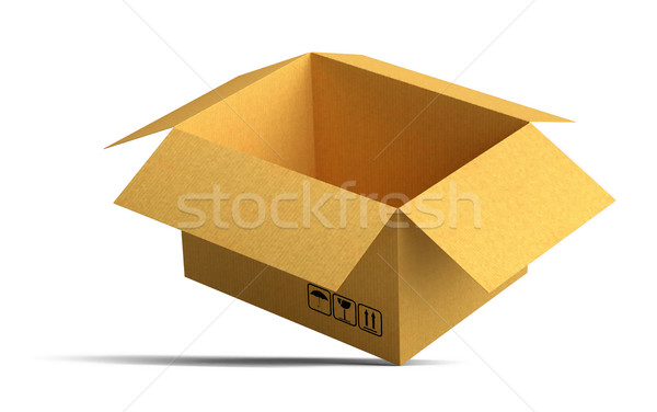 Open packing carton box stands on corner Stock photo © cherezoff