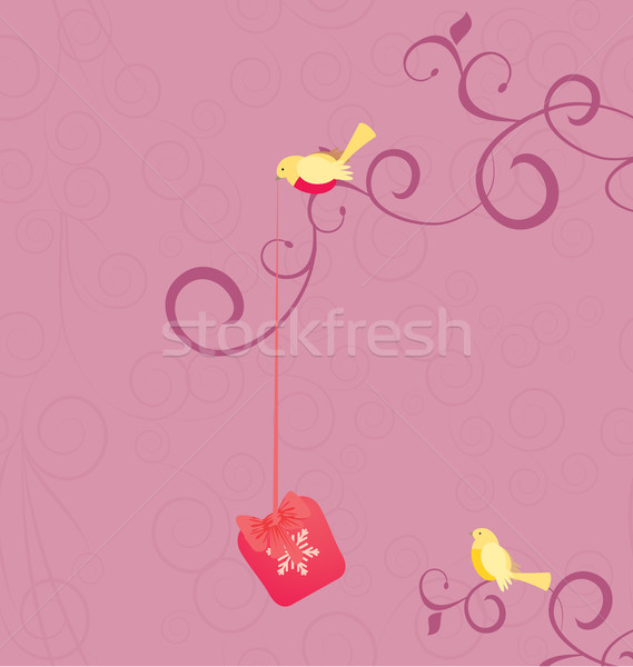 vector cartoon birds with christmas gift on pink flourishes back Stock photo © cherju