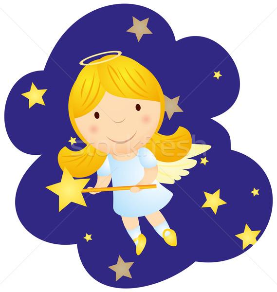 Aranyos rajz angyal lány vektor felhők Stock fotó © cherju