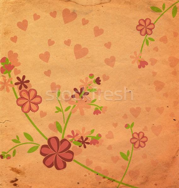 Klasszikus stílus virágok illusztráció rózsaszín régi papír Stock fotó © cherju