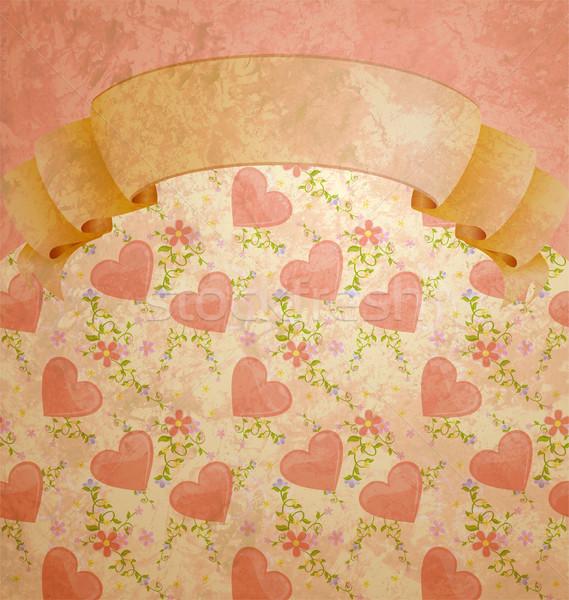 vintage style scroll blank with pastel hearts pattern Stock photo © cherju