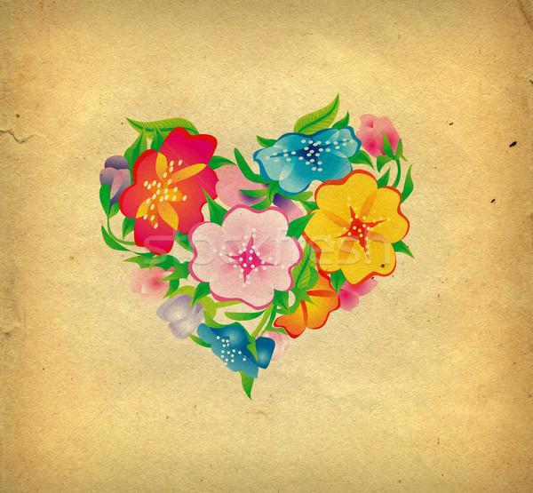 Flores corazón flor amor resumen diseno Foto stock © cherju