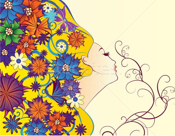 Vektor tavasz nő fantázia profil virágok Stock fotó © cherju