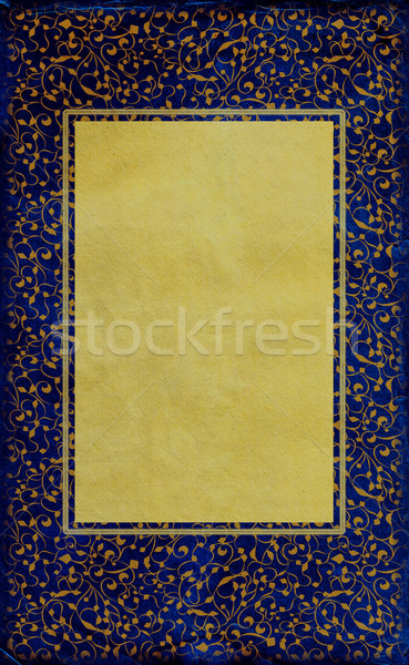 royal blue old paper with golden frame Stock photo © cherju