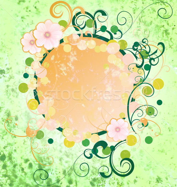 grunge green spring frame with cosmos flowers and flourishes hol Stock photo © cherju