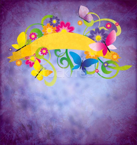 Oud papier textuur vlinders scroll banner kleurrijk Stockfoto © cherju