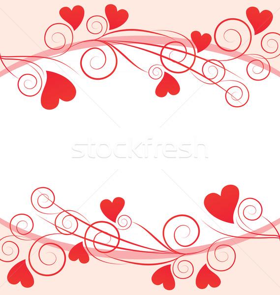 Vektor piros szívek keret fehér virág Stock fotó © cherju