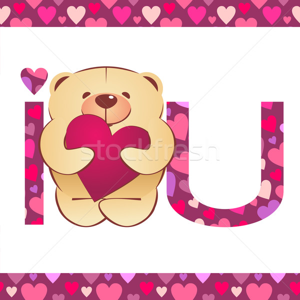teddy bear with heart and i love you text on white background wi Stock photo © cherju
