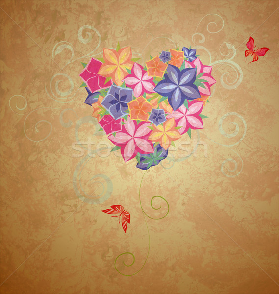 colorful flowers heart with butterflies on brown grunge backgrou Stock photo © cherju