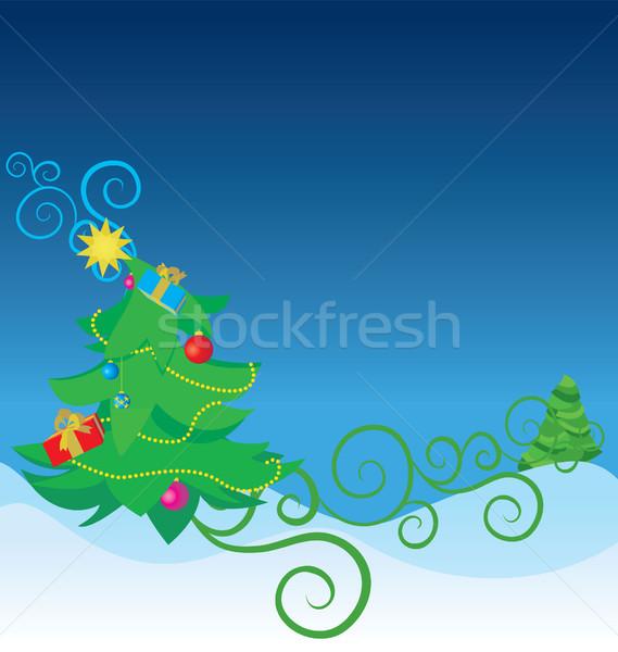 Szín karácsonyfa illusztráció textúra labda retro Stock fotó © cherju