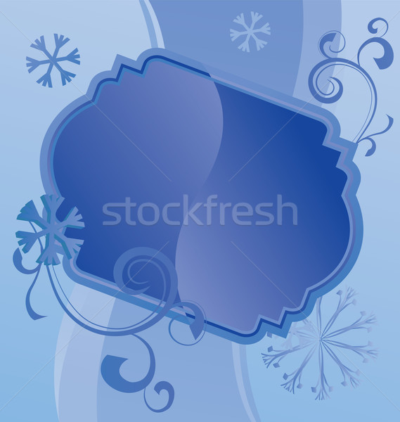 vector blue christmas  snowflakes on white background with abstr Stock photo © cherju