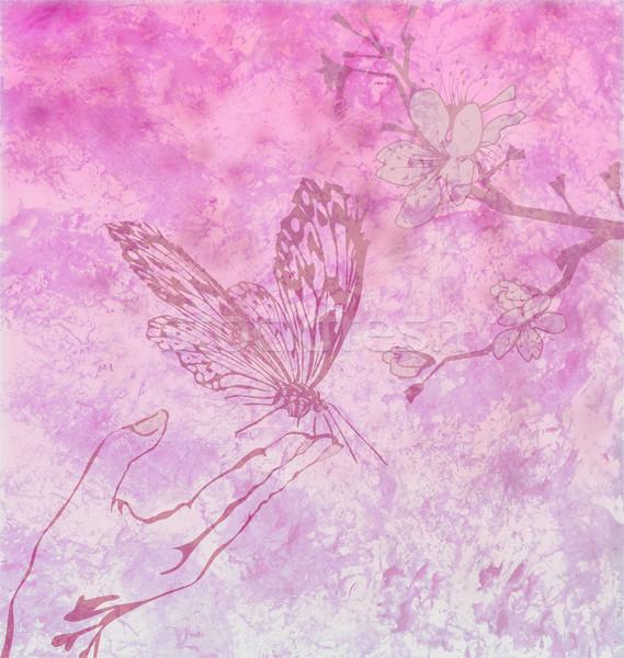 Részletes pillangó virágmintás dísz magenta háttér Stock fotó © cherju