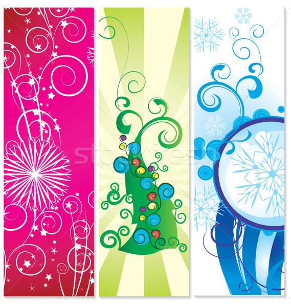 Ingesteld banners kerstboom sneeuwvlokken illustratie textuur Stockfoto © cherju