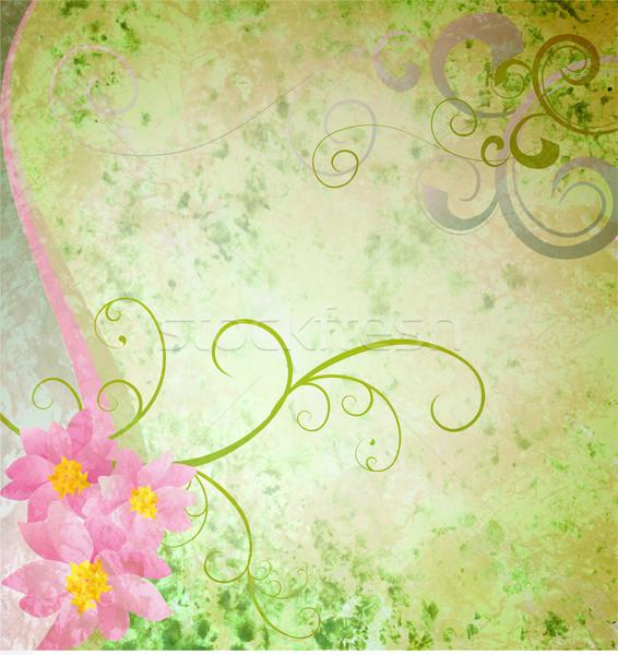 Tavasz zöld grunge rózsaszín virágok pillangók Stock fotó © cherju