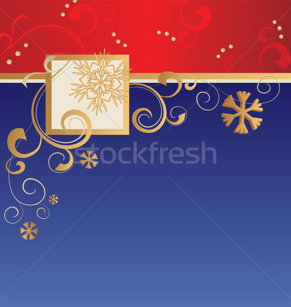 vector christmas stripes background with golden flourishes, snow Stock photo © cherju