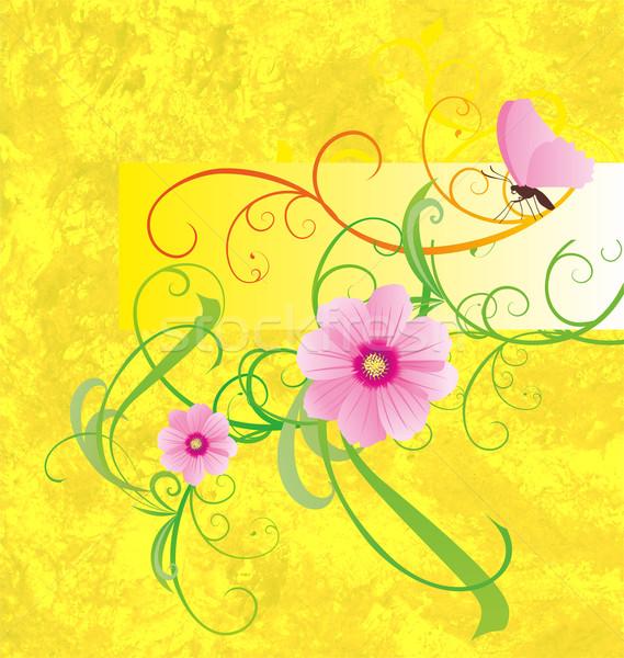 Geel roze bloemen vlinder banner bloem Stockfoto © cherju