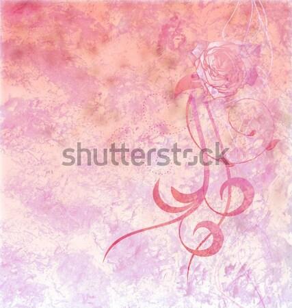 dark brown fashion girl silhouette on light pink grunge backgrou Stock photo © cherju