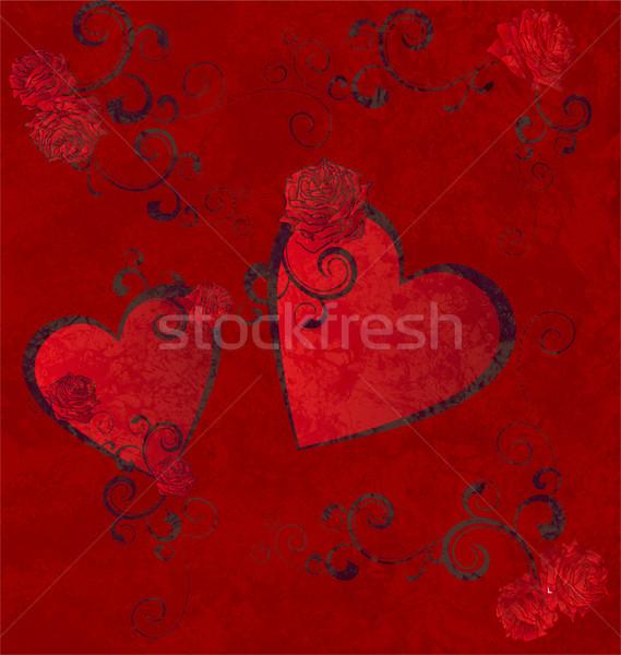 Rojo corazones grunge amor moda corazón Foto stock © cherju