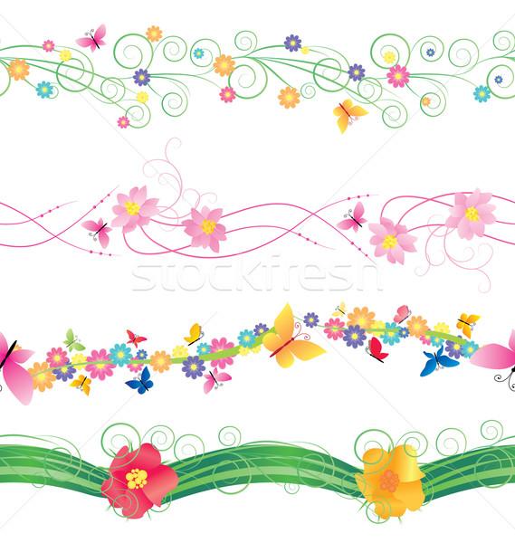 Virágok pillangók keretek vektor izolált fehér Stock fotó © cherju