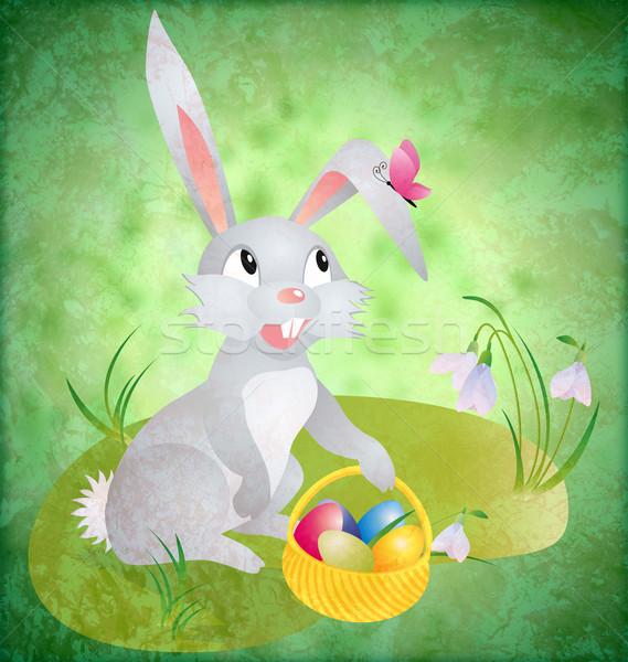Húsvéti nyuszi tojások zöld grunge háttér fű Stock fotó © cherju