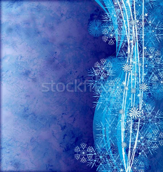 Abstract gedetailleerd sneeuwvlokken Blauw grunge licht Stockfoto © cherju
