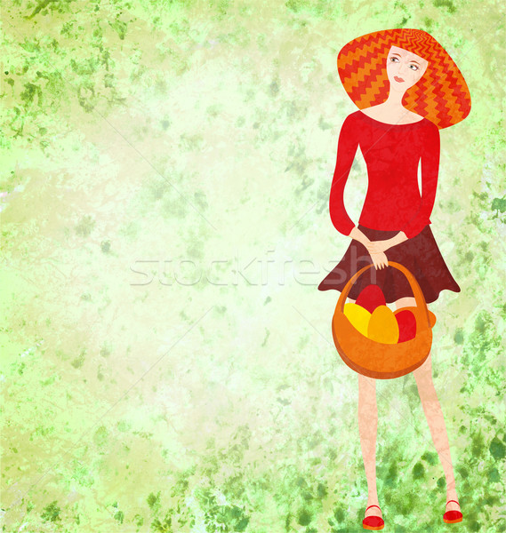 red young woman with easter basket on green watercolor backgroun Stock photo © cherju