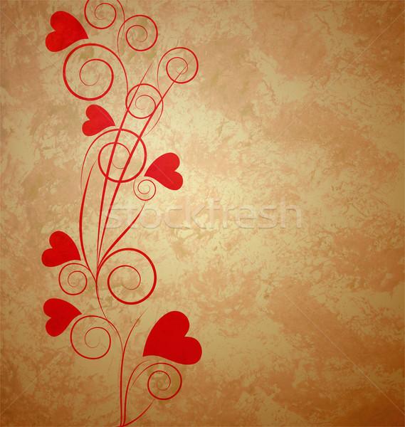 hearts tree retro grunge background brown paper Stock photo © cherju