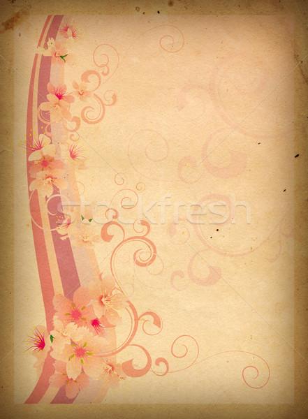 Rózsaszín virágok régi papír papír rózsa háttér Stock fotó © cherju