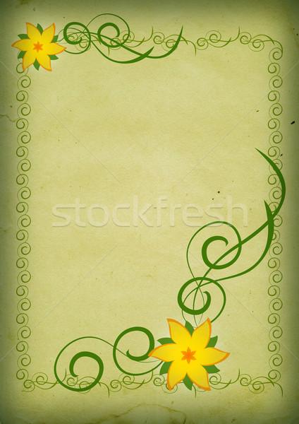 Vintage yellow flowers on green background Stock photo © cherju
