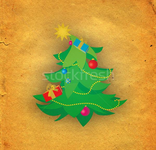green cartoon christmas tree on old paper Stock photo © cherju