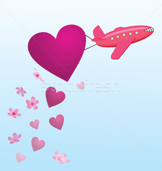 vector flying plane with hearts and flowers in the sky Stock photo © cherju