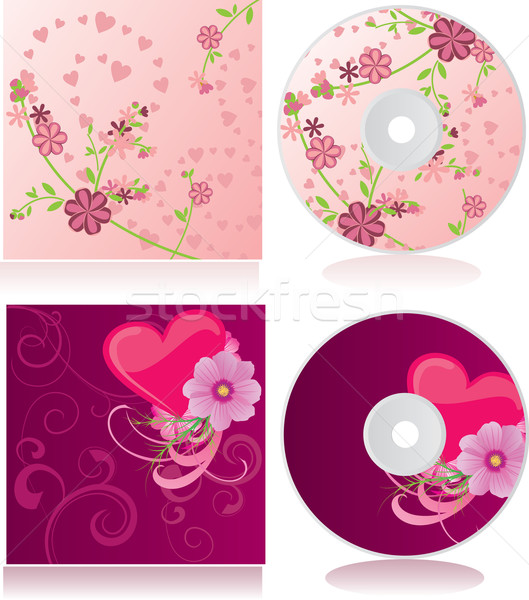 vector pink flowers discs covers set Stock photo © cherju