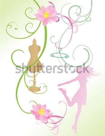 Tavasz nyári virágok vásár vektor lány vásárlás Stock fotó © cherju