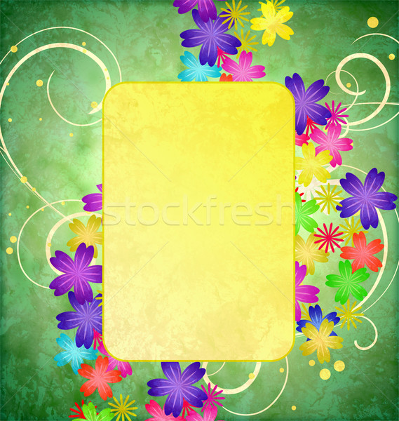 colorful flowers flourishes frame on green grunge background vin Stock photo © cherju
