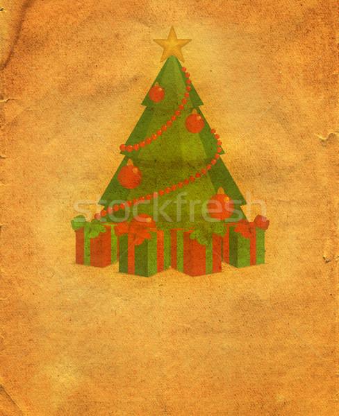 Karácsony régi papír fa boldog absztrakt hó Stock fotó © cherju