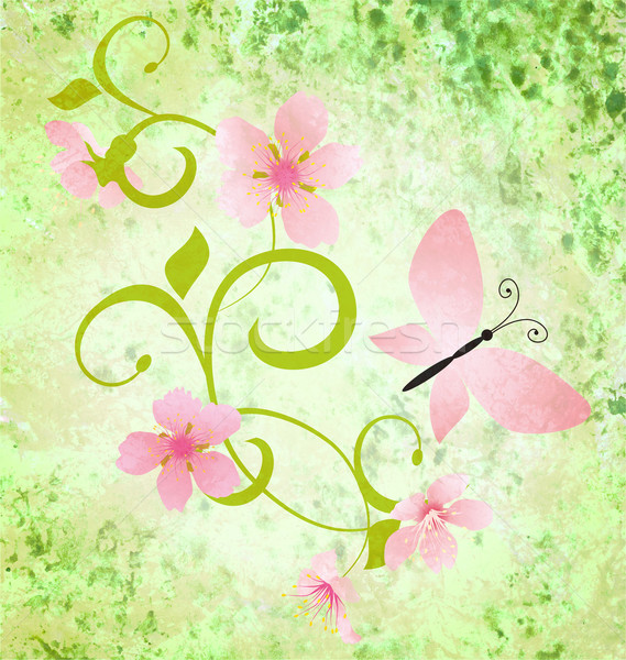 Primavera verde grunge rosa flores mariposas Foto stock © cherju