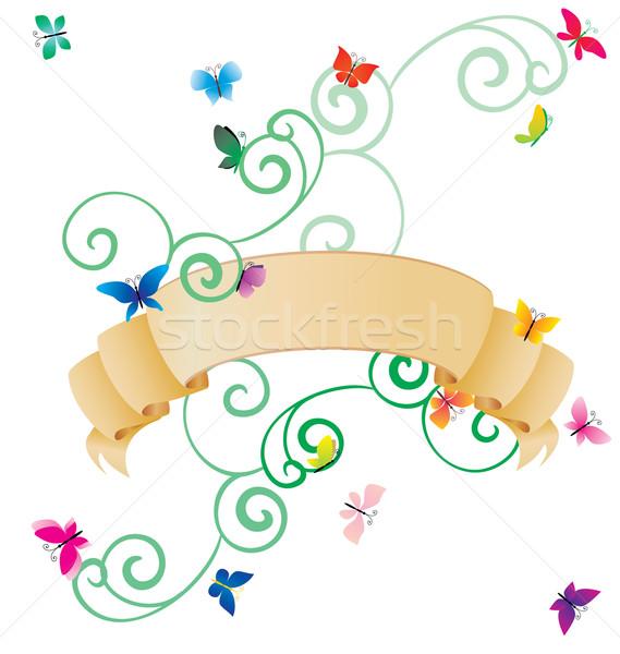 Photo stock: Brun · défiler · coloré · papillons · isolé · blanche