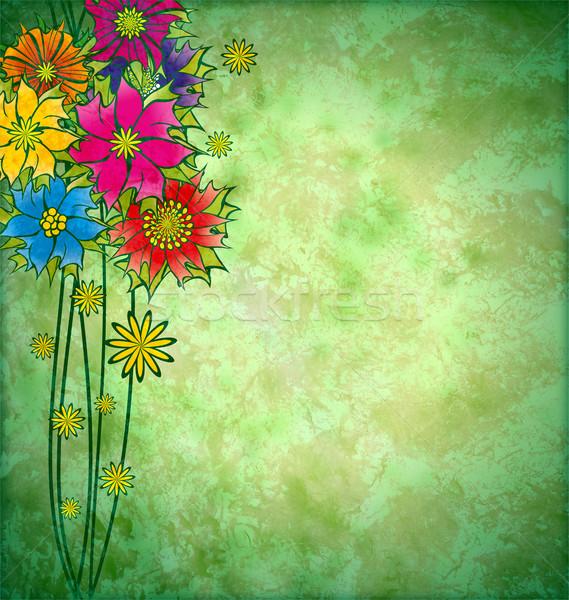 Kleurrijk grafische bloemen grunge aquarel bloem Stockfoto © cherju