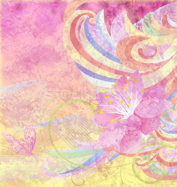abstract pink flower with curves on pink and yellow grunge paper Stock photo © cherju