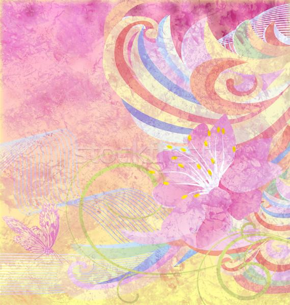 Resumen flor rosa curvas rosa amarillo grunge Foto stock © cherju