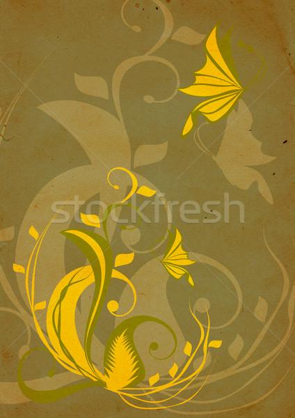 Vintage gele bloemen bruin Pasen bloem papier Stockfoto © cherju